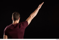 Tomas Salek  1 arm back view dressed flexing red t shirt 0004.jpg